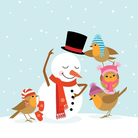 scarves: Funny Robins birds making a snowman. Illustration