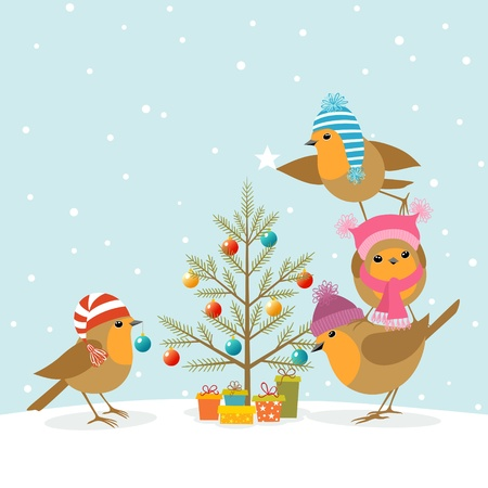 Funny Robins decorating a Christmas tree. Vector