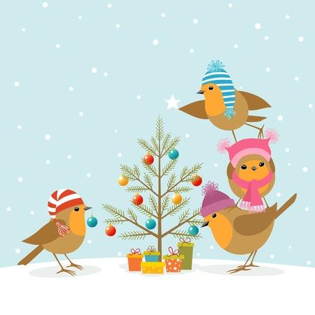 Lustige Robins schmücken einen Weihnachtsbaum.
