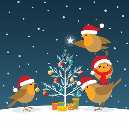 Robins wearing Santa Claus hats decorating Christmas tree.