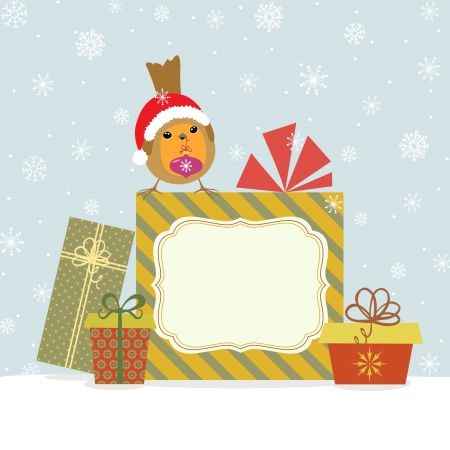 Christmas card with Robin, gifts and copy space. Illustration