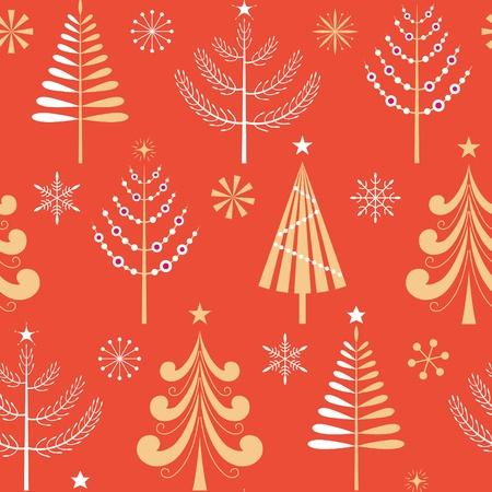 Naadloos patroon met gouden en witte kerstbomen en sneeuwvlokken.