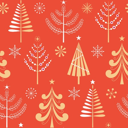 Seamless  pattern with gold and white Christmas trees and snowflakes.