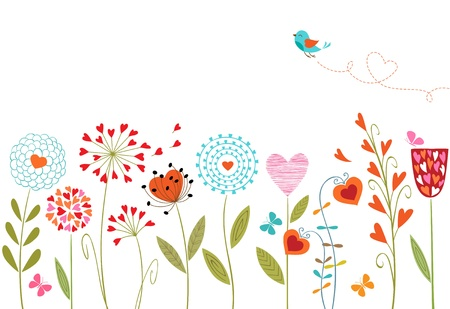 Bloemen achtergrond met hand getrokken bloemen, vlinders, vogels en ruimte voor uw tekst. Stock Illustratie