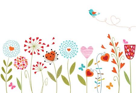 cartoon butterfly: Fondo floral dibujado a mano con flores, mariposas, aves y espacio para el texto.