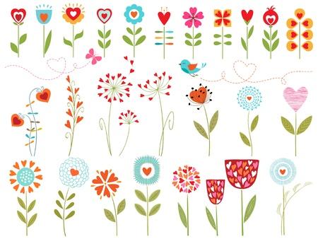 心と花のデザイン要素のセットです。