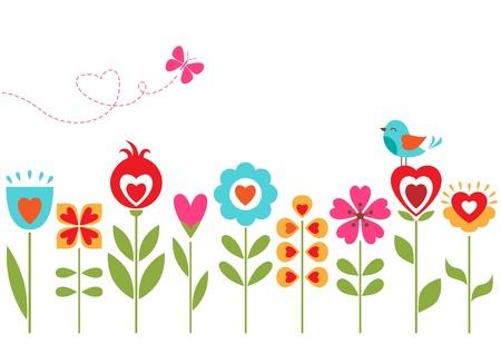 レトロ花柄の花、鳥、蝶、テキストのスペースを持つ。  イラスト・ベクター素材