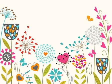 テキストのスペースと花柄のデザイン。