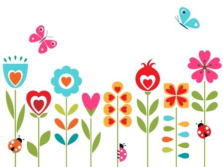 butterfly ladybird: Dise�o de flores con elementos retro.