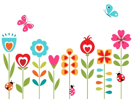 ladybug cartoon: Flower design with retro elements. Illustration