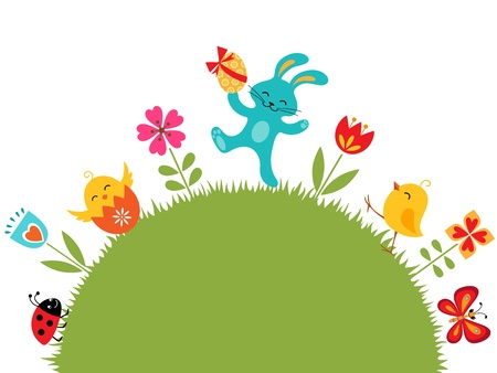 wit konijn: Pasen ontwerp met plaats voor uw tekst.