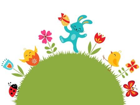 cartoon bunny: Progettazione di Pasqua con posto per il testo. Vettoriali