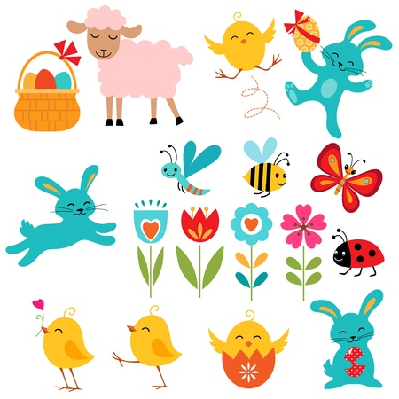spring lambs: Cute Easter elements for your design.