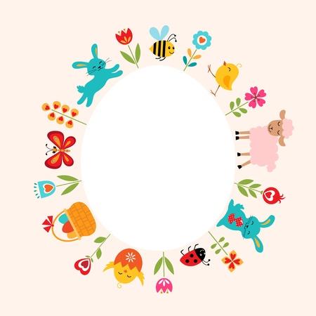 Pasen kaart met schattige dieren, bloemen en kopieer de ruimte.