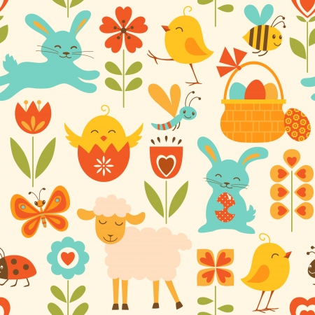 cartoon easter basket: Cute seamless pattern with Easter symbols.  Illustration