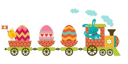 Cute Easter train in patchwork style. Ilustração