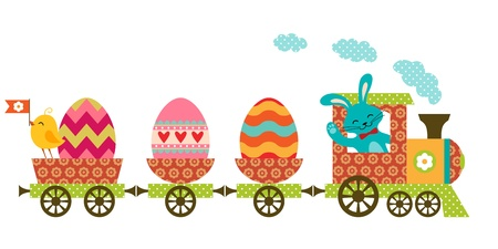 Cute Easter train in patchwork style. Vectores