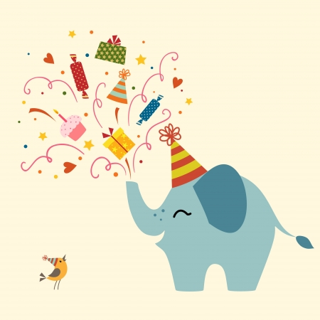 Birthday greetings from cute elephant.