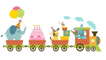 conejo caricatura: Tren lindo para diseño del cumpleaños Vectores