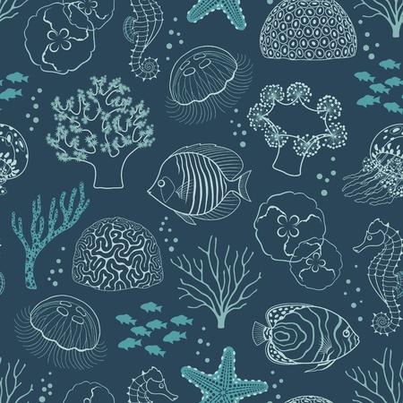 Underwater seamless pattern on dark blue background. Stock Illustratie
