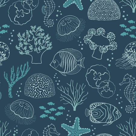 Underwater seamless pattern on dark blue background. Illustration