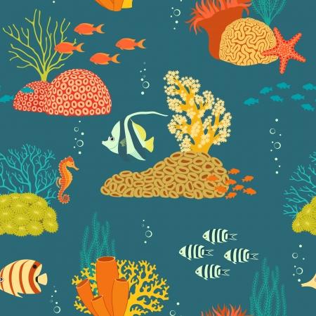 Seamless Unterwasser Muster mit blauem Hintergrund.