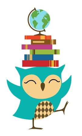 globo terraqueo: Mochuelo feliz con la pila de libros.