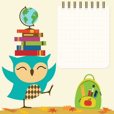 Back to school illustration with little owl and space for your text. Vectores