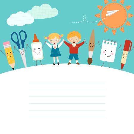 Colegial, colegiala y divertido material escolar de dibujos animados. Ilustración de vector