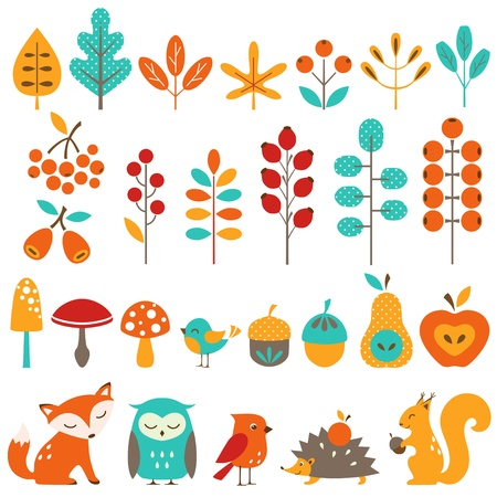 Set of autumn design elements.
