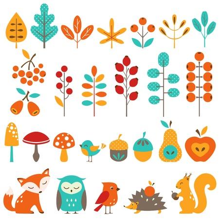 cartoon mushroom: Set of autumn design elements.