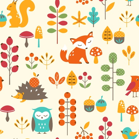 volpe cartoon: Seamless pattern autunno con simpatici animali