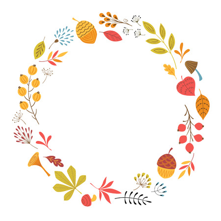 Round frame with autumn floral elements.