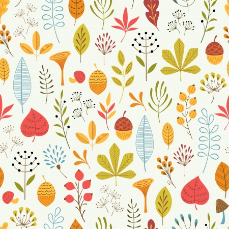 Seamless floral pattern with hand drawn elements