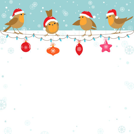 robin bird: Funny cartoon birds with Christmas decoration.