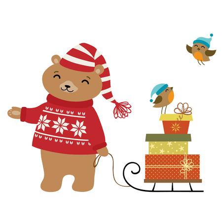 winter holiday: Cute orso con i regali di vacanza invernale. Vettoriali