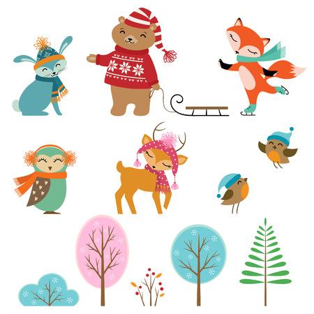 lapin: Ensemble des animaux et des arbres d'hiver mignon pour votre conception. Illustration