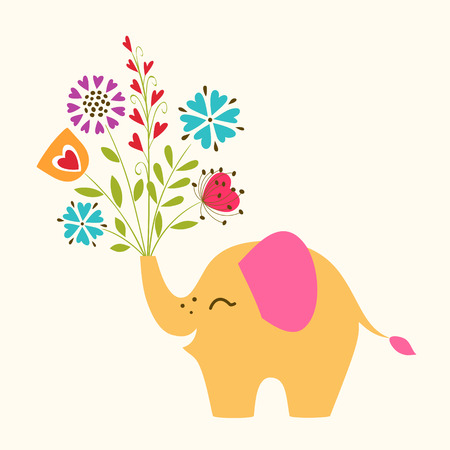 Cute happy elephant with bunch of flower  Vector