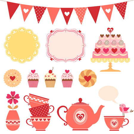 Set of Valentine tea party design elements  Vector