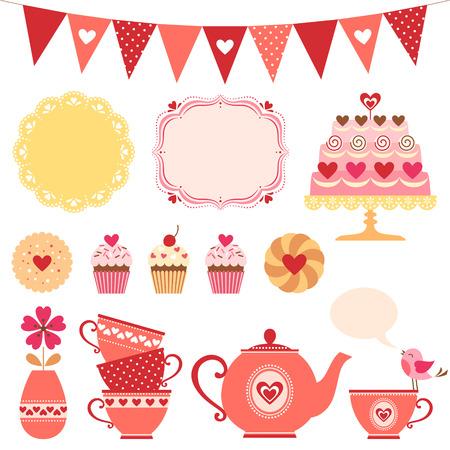 Set of Valentine tea party design elements