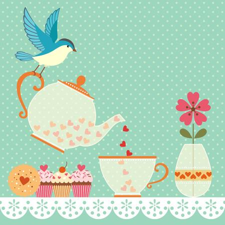 Kopje thee met liefde Kopieer ruimte voor uw tekst Vector bevat transparante objecten