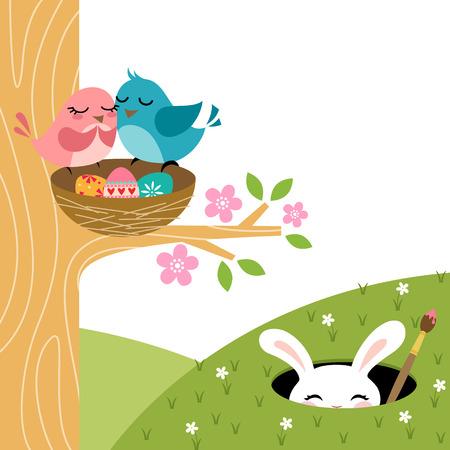 arbol de pascua: Sorpresa Pascua por un par de pájaros Vectores