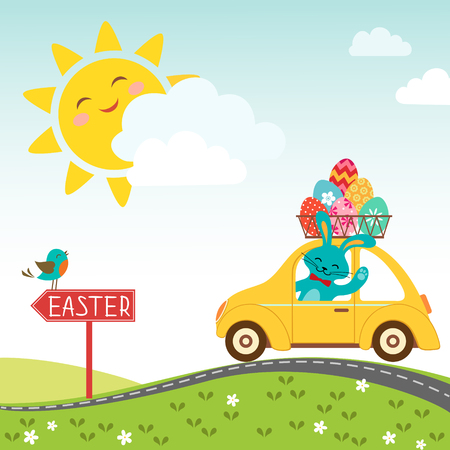 Easter bunny carries eggs for happy Easter  Illustration