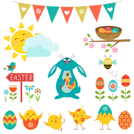 Set of cute elements for Easter design. Vectores