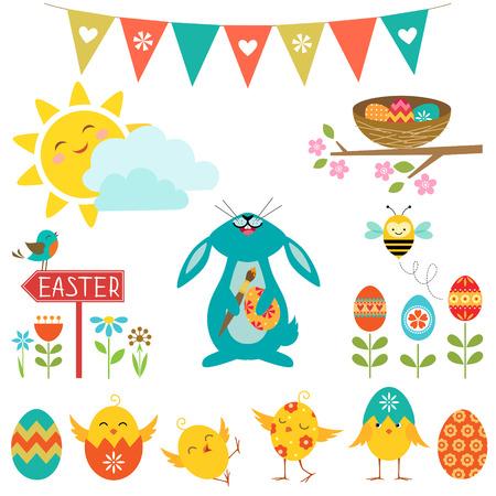 Set of cute elements for Easter design. Illustration