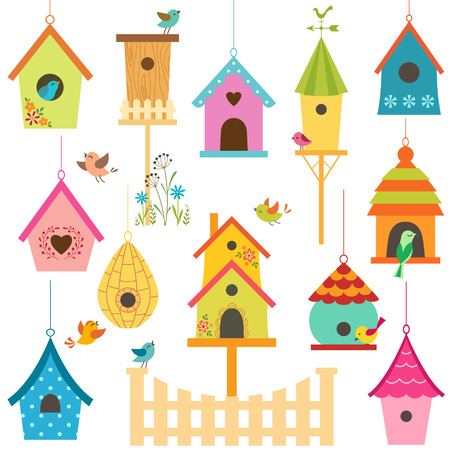 Set of colorful bird houses