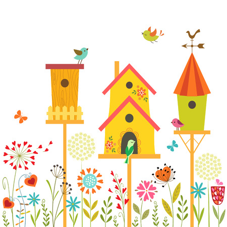 Cute illustration with bird houses, hand drawn flowers and place for text  Vectores