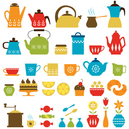 Set of tea and coffee things  Vector