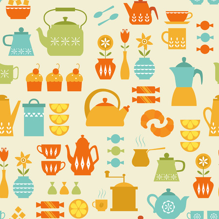 coffee mill: Seamless pattern with coffee and tea things