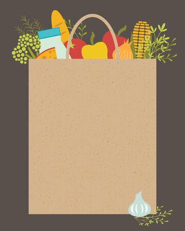 Illustratie van papieren zak met plaats voor uw tekst.